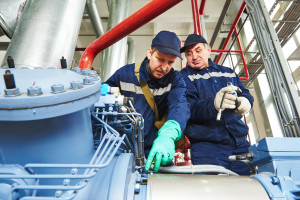 service engineer worker at industrial compressor refrigeration s