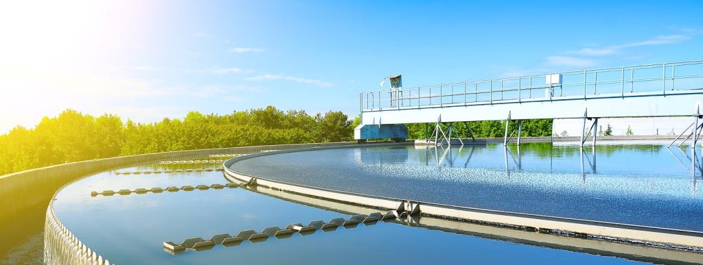 Modern urban wastewater treatment plant. Close-up view