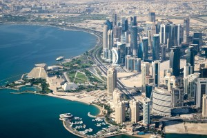 Aerial View of Downtown Doha, Qatar (Cityscape)